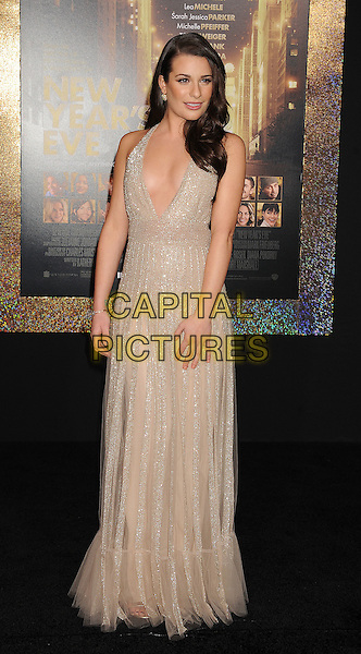 "Lea Michele.The World Premiere of ""New Year's Eve' held at The Grauman's Chinese Theatre in Hollywood, California, USA..December 5th, 2011.full length dress beige gold sparkly halterneck plunging neckline cleavage  .CAP/ROT/TM.©Tony Michaels/Roth Stock/Capital Pictures"
