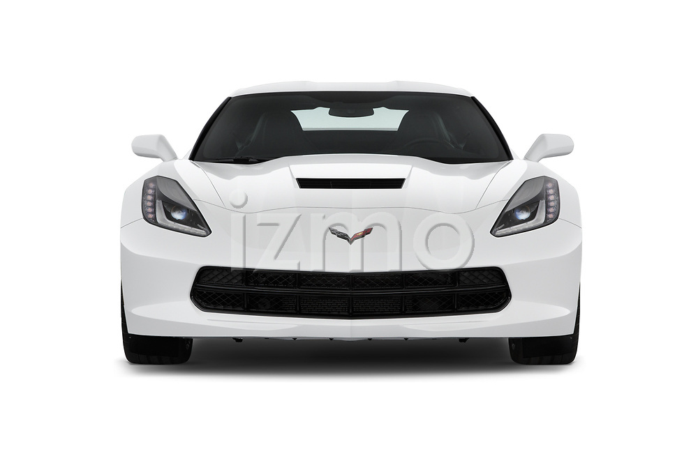 Car photography straight front view of a 2018 Chevrolet Corvette Stingray 1LT 2 Door Coupe