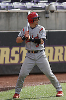 Stony Brook Seawolves catcher Pat Cantwell #3 in the on deck circle  during a game against the  East Carolina University Pirates at Clark-LeClair Stadium  on March 4, 2012 in Greenville, NC.  East Carolina defeated Stony Brook 4-3. (Robert Gurganus/Four Seam Images)