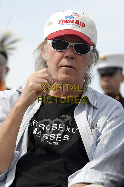 NEIL YOUNG.Farm Aid 2007: A HOMEGROWN Festival at Randals Island,.New York, New York, USA,.9 September 2007..half length  hat sunglasses cap.CAP/ADM/BL.©Bill Lyons/AdMedia/Capital Pictures. *** Local Caption ***