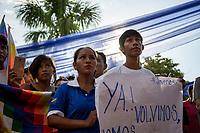 """Coca growers known as """"cocaleros"""", gather during a youth leading demonstration of the regional coca growers' union, in Eterazama town, Chapare region, Bolivia. December 01, 2019.<br /> Des cultivateurs de coca, connus sous le nom de """"cocaleros"""", se rassemblent lors d'une manifestation de jeunes dirigeants du syndicat régional des cultivateurs de coca, dans la ville d'Eterazama, région du Chapare, Bolivie. 01 décembre 2019."""