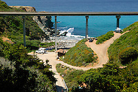 The campground and Highway 1 at Limekiln State Park, Central Coast, Big Sur, California.
