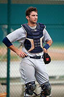Detroit Tigers catcher Joey Morgan (33) during practice before an Instructional League game against the Pittsburgh Pirates on October 6, 2017 at Pirate City in Bradenton, Florida.  (Mike Janes/Four Seam Images)