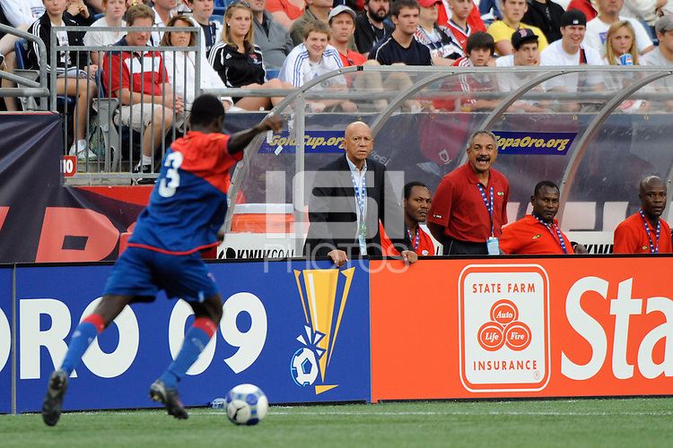 Haiti (HAI) head coach Jairo Rios watches Frantz Gilles (3). The United States and Haiti played to a 2-2 tie during a CONCACAF Gold Cup Group B group stage match at Gillette Stadium in Foxborough, MA, on July 11, 2009. .