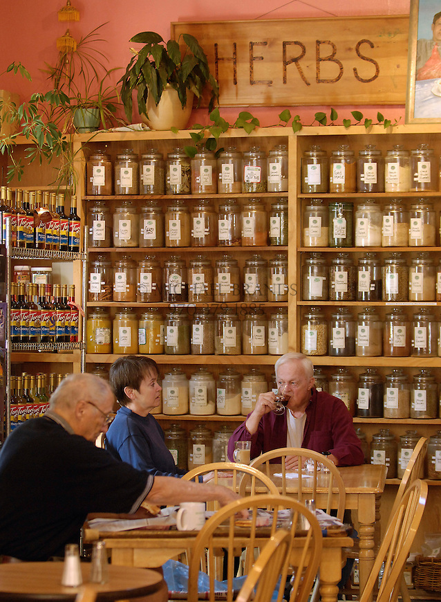 Patrons enjoy breakfast at the popular Spice of Life Market and Deli. Michael Brands for The New York Times.