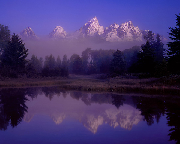 Morning fog and Snake River, Grand Teton Peak, Grand Teton National Park, Jackson Hole, Wyoming. John offers private photo tours in Grand Teton National Park and throughout Wyoming and Colorado. Year-round.