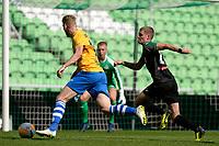 GRONINGEN - Voetbal, FC Groningen - de Graafschap, oefenduel, seizoen 2018--2019, 05-09-2018, Stef Nijland met FC Groningen speler Django Warmerdam