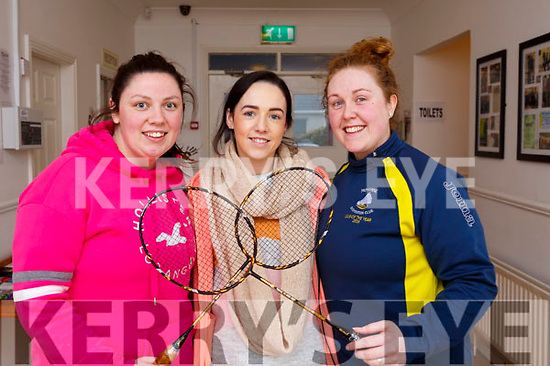 Trio from Moyvanne participating in the Badminton finals in Ballyheigue on Sunday last,L-r, Laura Lavery, Denise Collins and Erin Stack.