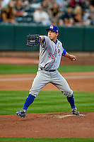 Round Rock Express starting pitcher Derek Holland (55) delivers a pitch to the plate against the Salt Lake Bees in Pacific Coast League action at Smith's Ballpark on August 15, 2016 in Salt Lake City, Utah. Round Rock defeated Salt Lake 5-4.  (Stephen Smith/Four Seam Images)