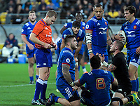 Referee Angus Gardiner yellow cards NZ's TJ Perenara during the Steinlager Series international rugby match between the New Zealand All Blacks and France at Westpac Stadium in Wellington, New Zealand on Saturday, 16 June 2018. Photo: Dave Lintott / lintottphoto.co.nz