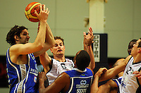 Kevin Owens steals the ball from Christopher Reay during the NBL Semifinal basketball match between the Wellington Saints and Nelson Giants at TSB Bank Arena, Wellington, New Zealand on Thursday, 12 June 2008. Photo: Dave Lintott / lintottphoto.co.nz