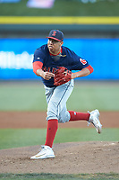 Salem Red Sox starting pitcher Bryan Mata (34) follows through on his delivery against the Winston-Salem Dash at BB&T Ballpark on April 20, 2018 in Winston-Salem, North Carolina.  The Red Sox defeated the Dash 10-3.  (Brian Westerholt/Four Seam Images)