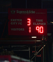 The scoreboard at 90 minutes, showing the score of Exeter City 3 - Lincoln City 1<br /> <br /> Photographer Chris Vaughan/CameraSport<br /> <br /> The EFL Sky Bet League Two Play Off Second Leg - Exeter City v Lincoln City - Thursday 17th May 2018 - St James Park - Exeter<br /> <br /> World Copyright &copy; 2018 CameraSport. All rights reserved. 43 Linden Ave. Countesthorpe. Leicester. England. LE8 5PG - Tel: +44 (0) 116 277 4147 - admin@camerasport.com - www.camerasport.com