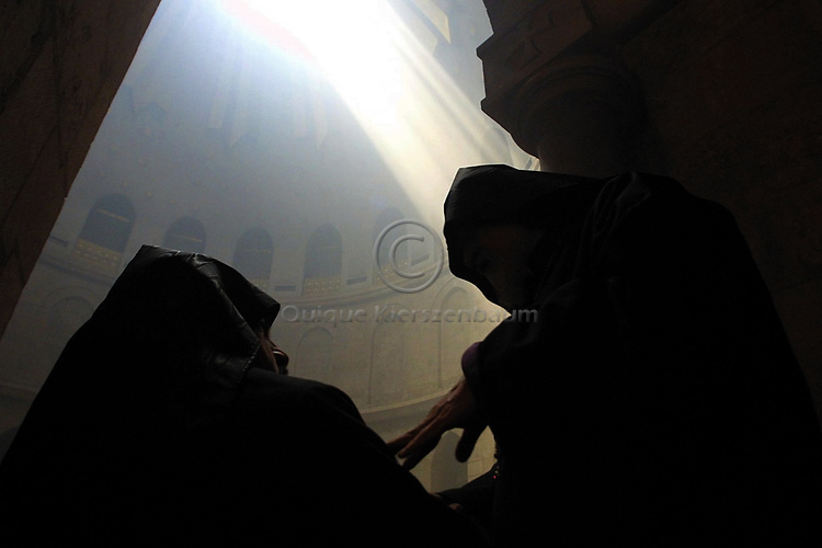 Holy Fire ceremony in the Church of the Holy Sepulcher in Jerusalem,May 2002.