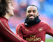 9th February 2019, The John Smith's Stadium, Huddersfield, England; EPL Premier League football, Huddersfield versus Arsenal; Alexandre Lacazette of Arsenal warms up before the kick off