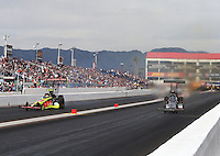Feb 26, 2017; Chandler, AZ, USA; NHRA top fuel driver Scott Palmer (right) defeats Troy Coughlin Jr during the Arizona Nationals at Wild Horse Pass Motorsports Park. Mandatory Credit: Mark J. Rebilas-USA TODAY Sports