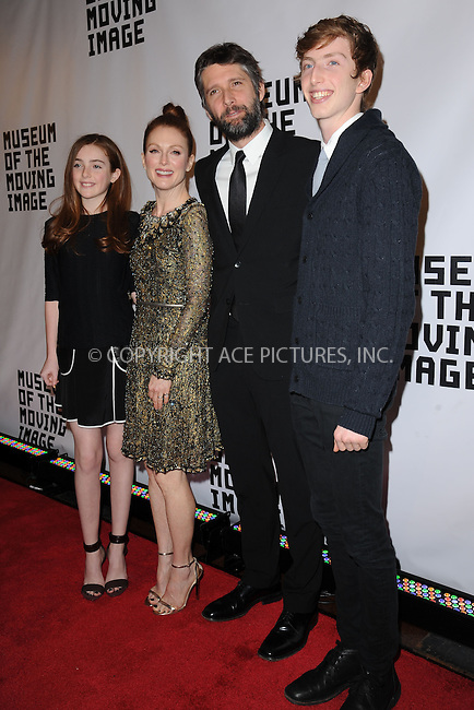WWW.ACEPIXS.COM<br /> January 20, 2015 New York City<br /> <br /> Liv Freundlich, Julianne Moore, Bart Freundlich and Caleb Freundlich attending the Museum of The Moving Image honors Julianne Moore at 583 Park Avenue on January 20, 2015 in New York City.<br /> <br /> Please byline: Kristin Callahan/AcePictures<br /> <br /> ACEPIXS.COM<br /> <br /> Tel: (212) 243 8787 or (646) 769 0430<br /> e-mail: info@acepixs.com<br /> web: http://www.acepixs.com
