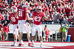 Wisconsin Badgers running back Jonathan Taylor (23) celebrates a touchdown with tight end Troy Fumagalli during an NCAA Big Ten Conference football game against the Maryland Terrapins Saturday, October 21, 2017, in Madison, Wis. The Badgers won 38-13. (Photo by David Stluka)