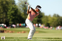 Danny Lee tees off on the 14th tee at the 5th Annual Notah Begay III Foundation Challenge at Atunyote Golf Club in Vernon, New York on August 29, 2012