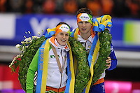 SCHAATSEN: HEERENVEEN: IJsstadion Thialf, 13-01-2013, Seizoen 2012-2013, Essent ISU EK allround, Europees kampioenen 2013, Ireen Wüst (NED), Sven Kramer (NED), ©foto Martin de Jong
