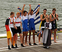 Ottensheim, AUSTRIA.  A  Final, JM 2- awards dock,  AUS JM2-, Nicholas BARNIER and Sasha BELONGOFF, at the 2008 FISA Senior and Junior Rowing Championships,  Linz/Ottensheim. Saturday,  26/07/2008.  [Mandatory Credit: Peter SPURRIER, Intersport Images] Rowing Course: Linz/ Ottensheim, Austria