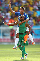 Patrick Pemberton and Oscar Granados of Costa Rica celebrate at full time
