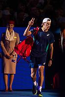 27th October 2019; St. Jakobshalle, Basel, Switzerland; ATP World Tour Tennis, Swiss Indoors Final; Alex de Minaur (AUS) enters the court before the match against Roger Federer (SUI) - Editorial Use