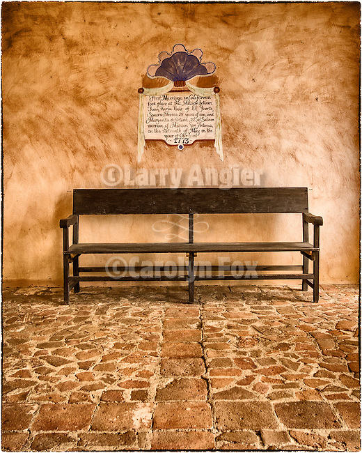 Bench at entrance to the interior plaza of Mission San Antonio de Padua, California.<br /> <br /> The first marriage in California between Juan Ruiz of Mexico and Margarita de Cortona a local Salinan Indian at the mission was on May 16, 1773.