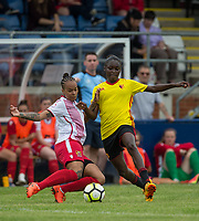 Dom Godbeer of Stevenage Ladies & Rinsola Babajide of Watford Ladies during the pre season friendly match between Stevenage Ladies FC and Watford Ladies at The County Ground, Letchworth Garden City, England on 16 July 2017. Photo by Andy Rowland / PRiME Media Images.