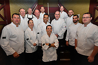 Melbourne, 30 May 2017 - The judges pose for a photograph at the Australian selection trials of the Bocuse d'Or culinary competition held during the Food Service Australia show at the Royal Exhibition Building in Melbourne, Australia. <br /> <br /> Mark Agius from the William Angliss Institute a judge of the fish plate<br /> Donovan Cooke from The Atlantic Restaurant a judge of the fish plate<br /> Alexander McIntosh from At The Heads a judge of the fish plate<br /> Andre Smaniotto from the Geelong Cats a judge of the fish plate<br /> Simon Cosentino former Commis competitor Bocuse d&rsquo;Or 2007-9 a judge of the meat plate<br /> Florent Gerardin from the Newmarket Hotel a judge of the meat plate<br /> Deepak Mishra from The Langham Hotel a judge of the meat plate<br /> Mark Weatherley from Les Toques Blanches a judge of the meat plate<br /> Karen Doyle from Le Cordon Bleu kitchen invigilator judge<br /> Glenn Flood from the ALH Group kitchen invigilator judge<br /> John McFadden from the Parkroyal Hotel Darling Harbour kitchen invigilator judge<br /> Head judge Philippe Mouchel from the Philippe Restaurant kitchen invigilator judge<br /> Tom Milligan of the Bocuse d'Or Academy AustraliaPhoto Sydney Low
