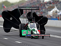 Apr 20, 2018; Baytown, TX, USA; NHRA top fuel driver Kebin Kinsley during qualifying for the Springnationals at Royal Purple Raceway. Mandatory Credit: Mark J. Rebilas-USA TODAY Sports