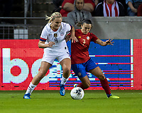 HOUSTON, TX - FEBRUARY 03: Lindsey Horan #9 of the USA and Melissa Herrera #7 of Costa Rica contest the ball during a game between Costa Rica and USWNT at BBVA Stadium on February 03, 2020 in Houston, Texas.