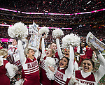 The Alabama Crimson Tide cheerleaders celebrate their 26-23 victory over the Georgia Bulldogs in the NCAA College Football Playoff National Championship at Mercedes-Benz Stadium on January 8, 2018 in Atlanta. Photo by Mark Wallheiser/UPI