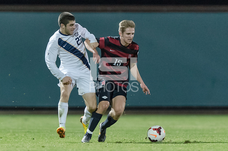 November 13, 2013:  Eric Verson during the Stanford vs Cal men's soccer match in Stanford, California.  Stanford won 2-1 in overtime.