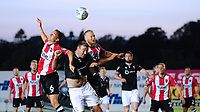 Lincoln City's Matt Rhead vies for possession with Exeter City's Jordan Tillson, left, and Exeter City's Robbie Simpson<br /> <br /> Photographer Chris Vaughan/CameraSport<br /> <br /> The EFL Sky Bet League Two Play Off Second Leg - Exeter City v Lincoln City - Thursday 17th May 2018 - St James Park - Exeter<br /> <br /> World Copyright &copy; 2018 CameraSport. All rights reserved. 43 Linden Ave. Countesthorpe. Leicester. England. LE8 5PG - Tel: +44 (0) 116 277 4147 - admin@camerasport.com - www.camerasport.com