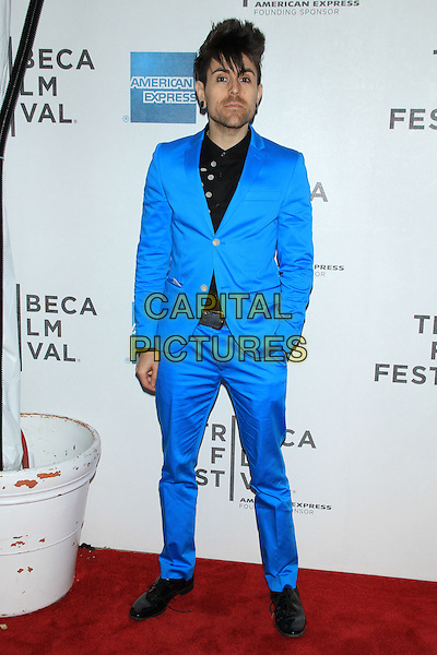 "Davey Havok .The 2012 Tribeca Film Festival World Premiere of ""Knife Fight"" at the Tribeca Performing Arts Center, New York, NY, USA..April 25th, 2012 .full length black blue suit stubble facial hair shirt hand in pocket.CAP/LNC/TOM.©TOM/LNC/Capital Pictures."