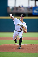 Bradenton Marauders starting pitcher Aaron Shortridge (24) during a Florida State League game against the Charlotte Stone Crabs on April 10, 2019 at LECOM Park in Bradenton, Florida.  Bradenton defeated Charlotte 2-1.  (Mike Janes/Four Seam Images)