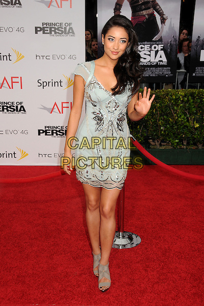 "SHAY MITCHELL.""Prince Of Persia: The Sands Of Time"" Los Angeles Premiere held at Grauman's Chinese Theatre, Hollywood, California, USA..May 17th, 2010.full length dress hand waving palm blue green silver beads beaded embellished jewel encrusted grey gray ankle sandals shoes.CAP/ADM/BP.©Byron Purvis/AdMedia/Capital Pictures."