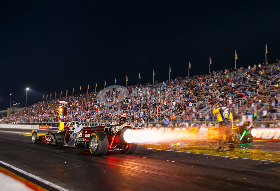 Sep 2, 2017; Clermont, IN, USA; NHRA jet dragster driver Elaine Larsen launches off the starting line during qualifying for the US Nationals at Lucas Oil Raceway. Mandatory Credit: Mark J. Rebilas-USA TODAY Sports