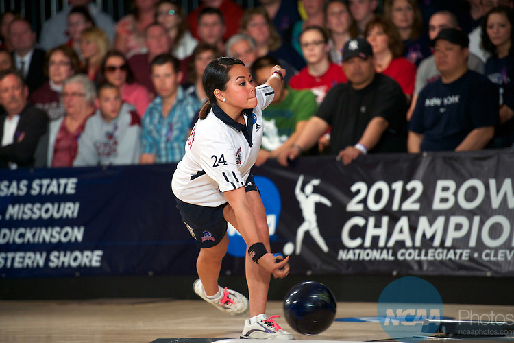 14 APR 2012: Joely Carrillo (24) of Fairleigh Dickson bowls during the Division I Womens Bowling Championship held at Freeway Lanes in Wickliffe, OH.  The University of Maryland Eastern Shore defeated Fairleigh Dickinson 4-2 to win the national title.  Jason Miller/NCAA Photos