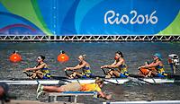 Rio de Janeiro. BRAZIL LTU W4X, 2016 Olympic Rowing Regatta. Lagoa Stadium,<br /> Copacabana,  &ldquo;Olympic Summer Games&rdquo;<br /> Rodrigo de Freitas Lagoon, Lagoa. Local Time 13:10:00  Saturday  06/08/2016<br /> [Mandatory Credit; Peter SPURRIER/Intersport Images]