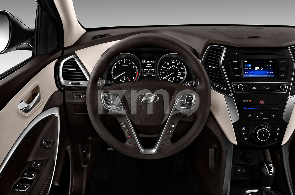 Car pictures of steering wheel view of a 2018 Hyundai Santa Fe Sport Base 5 Door SUV