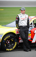 Oct. 3, 2009; Kansas City, KS, USA; NASCAR Nationwide Series driver Michael Annett during qualifying for the Kansas Lottery 300 at Kansas Speedway. Mandatory Credit: Mark J. Rebilas-