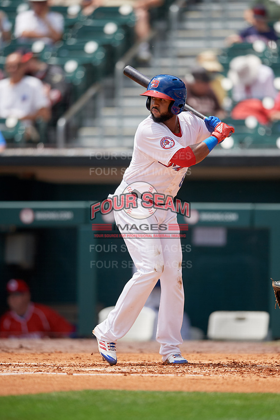 Buffalo Bisons second baseman Richard Urena (8) at bat during a game against the Pawtucket Red Sox on June 28, 2018 at Coca-Cola Field in Buffalo, New York.  Buffalo defeated Pawtucket 8-1.  (Mike Janes/Four Seam Images)