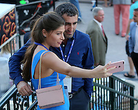 HALLANDALE BEACH, FL - JANUARY 28: Fans taking selfless on Pegasus World Cup Invitational Day at Gulfstream Park on January 28, 2017 in Hallandale Beach, Florida. (Photo by Liz Lamont/Eclipse Sportswire/Getty Images)