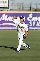 Chase De Jong (14) of the Rancho Cucamonga Quakes warms up before pitching during a game against the High Desert Mavericks at LoanMart Field on August 3, 2015 in Rancho Cucamonga, California. Rancho Cucamonga defeated High Desert, 2-1. (Larry Goren/Four Seam Images)