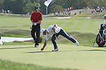 Paul Casey fixing his divot in the 18th during the final round of Single Matches at The 37th Ryder cup from Valhalla Golf Club in Louisville, Kentucky....Photo: Fran Caffrey/www.golffile.ie.