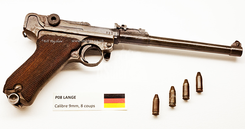 German WWI Revolver.<br /> World War One Lange P08 known as a Luger. A recoiloperated semi automatic pistol patented by Georg J. Luger in 1898.