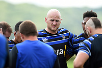 Matt Garvey of Bath Rugby looks on in a huddle. Bath Rugby pre-season training on August 14, 2018 at Farleigh House in Bath, England. Photo by: Patrick Khachfe / Onside Images
