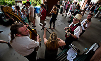 ELMONT, NY - JUNE 10: A band plays near the concessions on Belmont Stakes Day at Belmont Park on June 10, 2017 in Elmont, New York (Photo by Scott Serio/Eclipse Sportswire/Getty Images)